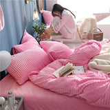 Princess Style Sweet Pink Wavy Shape 4-Piece Fluffy Bedding Sets/ Duvet Covers