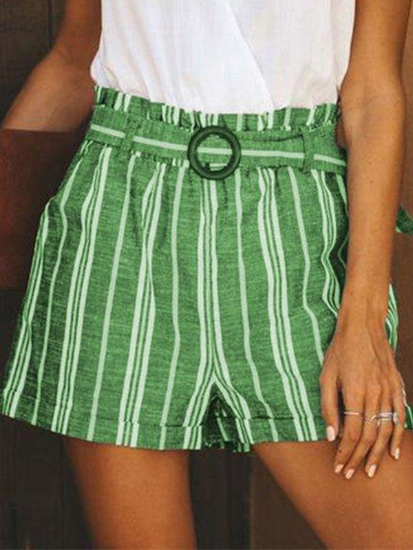Stripe Wide Legs Belt Loose Shorts