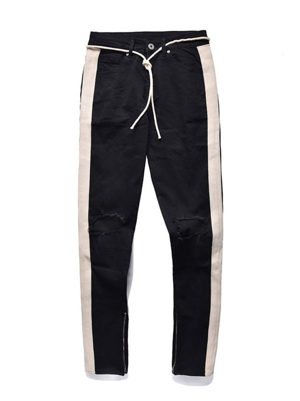 Color Block Hole Korean Mid Waist Jeans
