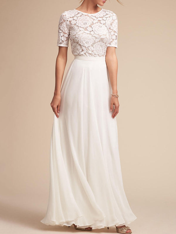Floor-Length Lace Short Sleeve Pullover Standard-Waist Dress