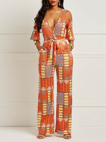 Color Block Print Sexy Loose High Waist Jumpsuit
