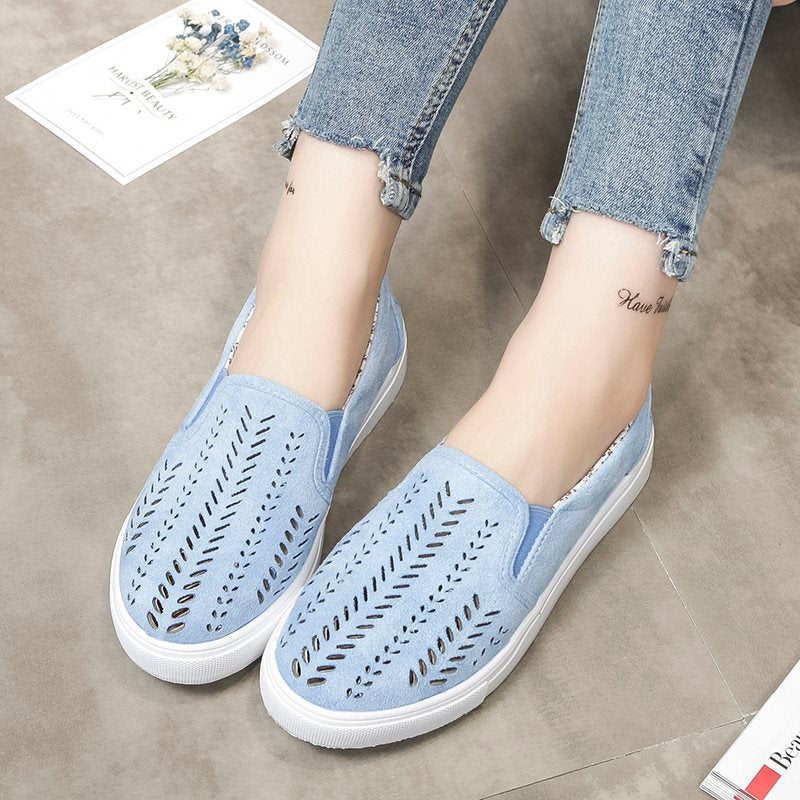 Round Toe Slip-On Flat With Hollow Low-Cut Upper 2cm Thin Shoes