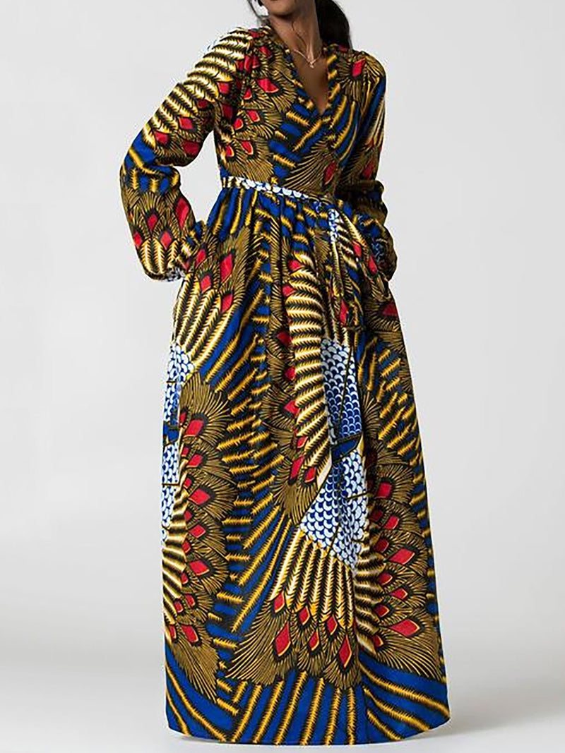 Ethnic V-Neck High-Waist Maxi Dress