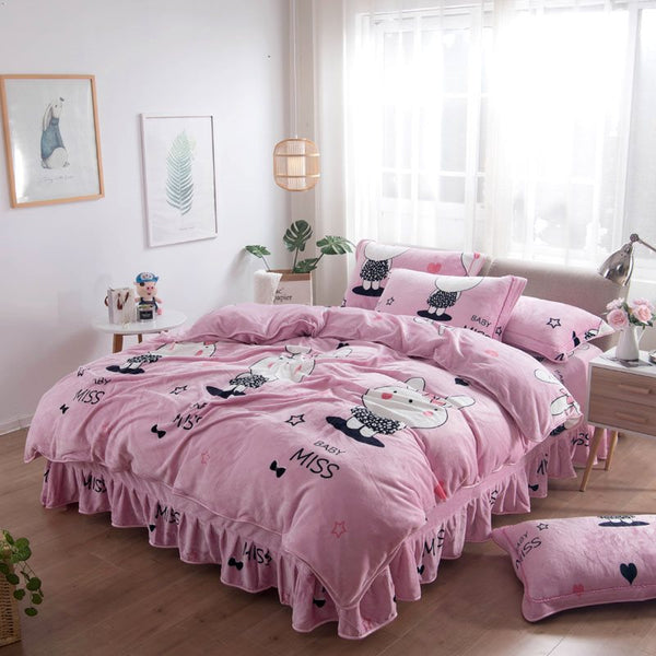 Cute Cartoon Miss Baby Conigli stampati rosa 4-Piece Set di biancheria da letto / copripiumino