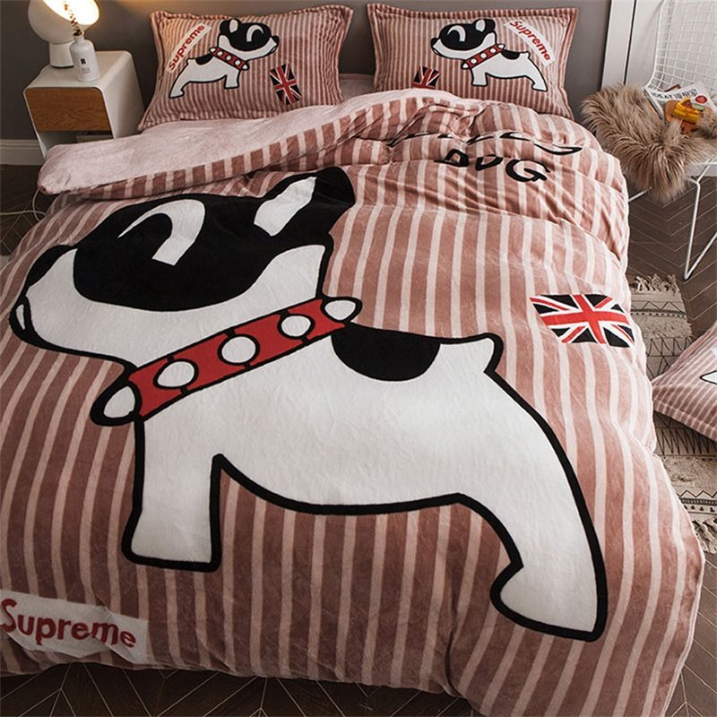 Cute Dog Reversible Flanella Warm Kids 4-Piece Fluffy Bedding Sets / Copripiumino