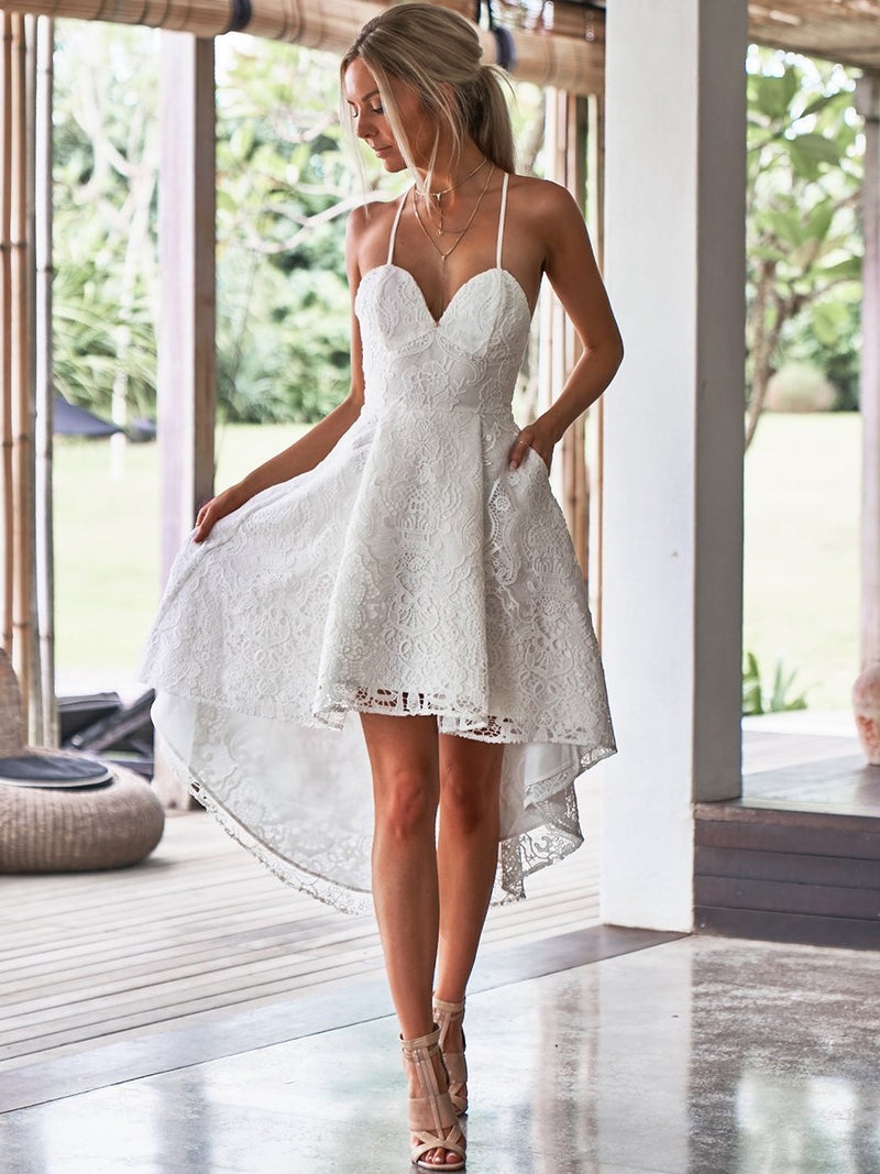 White Spaghetti Strap Lace Party Dress