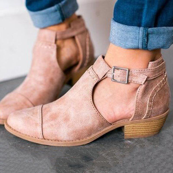 Hasp Plain Chunky Heel Pointed Toe Thread Casual Boots
