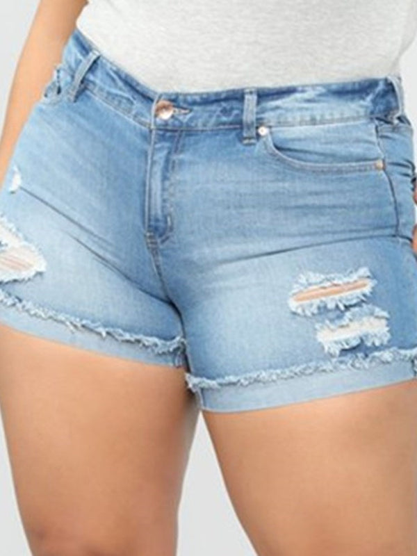 Plain Zipper Skinny Zipper Shorts