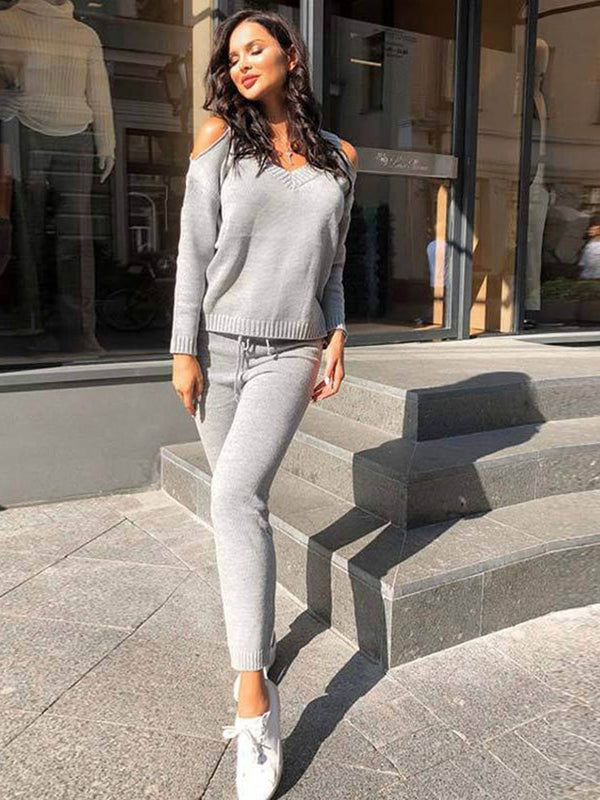 Hollow Fashion Pants Pullover Bleistift Hose Zweiteilige Sets