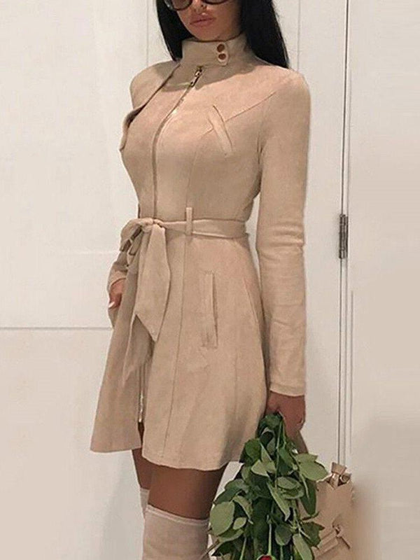 Above Knee Zipper Long Sleeve Casual High-Waist Dresses
