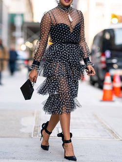 Mid-Calf See-Through Long Sleeve Layered Dress Polka Dots Dress