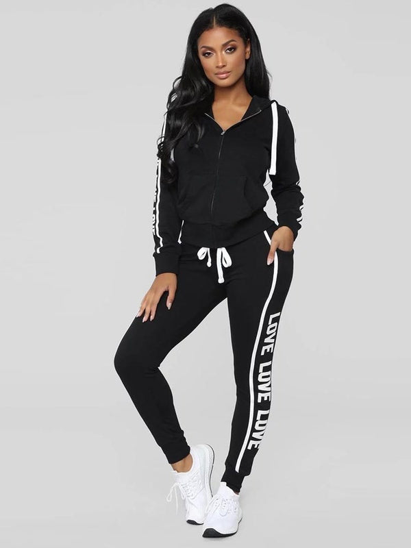 Print Casual Letter Hooded Zipper Two Piece Sets