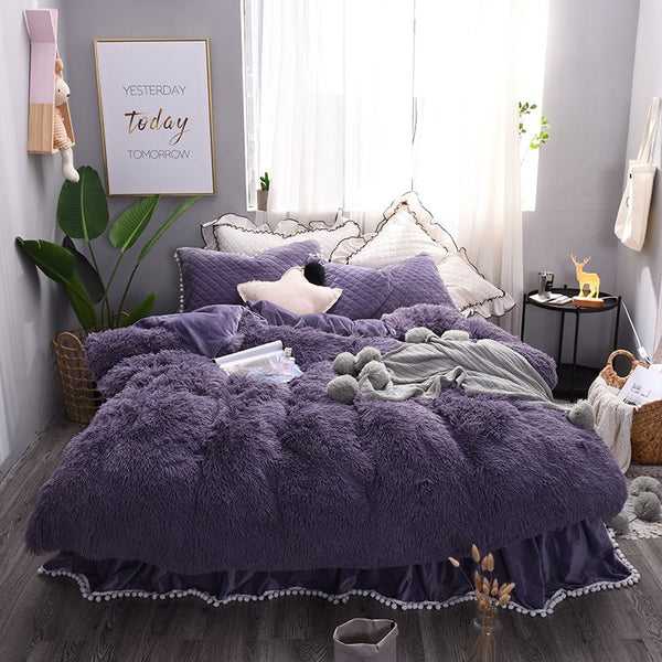 Einfarbig Lila Princess Style 4-Piece Fluffy Bed Röcke Bettbezug