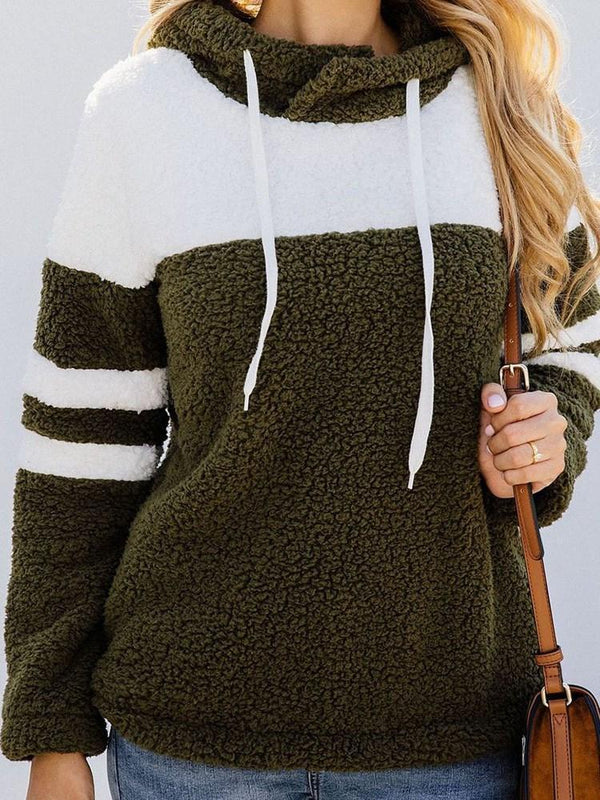 Color Block Regular Mid-Length Long Sleeve Hoodie