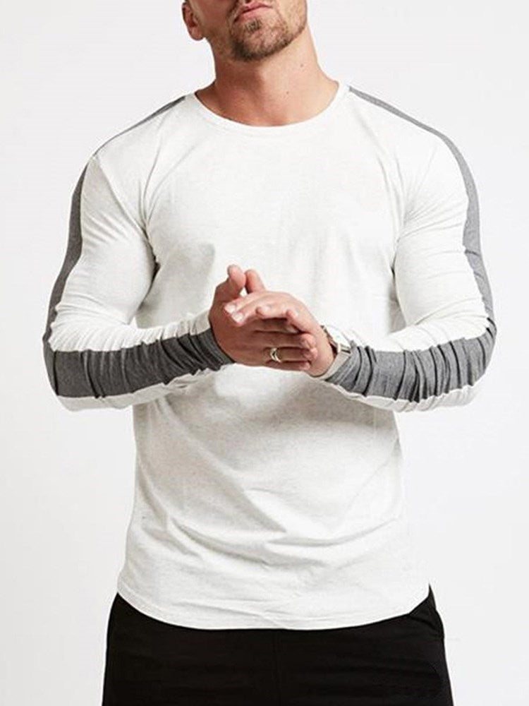 Round Neck Color Block Patchwork Long Sleeve Slim T-shirt