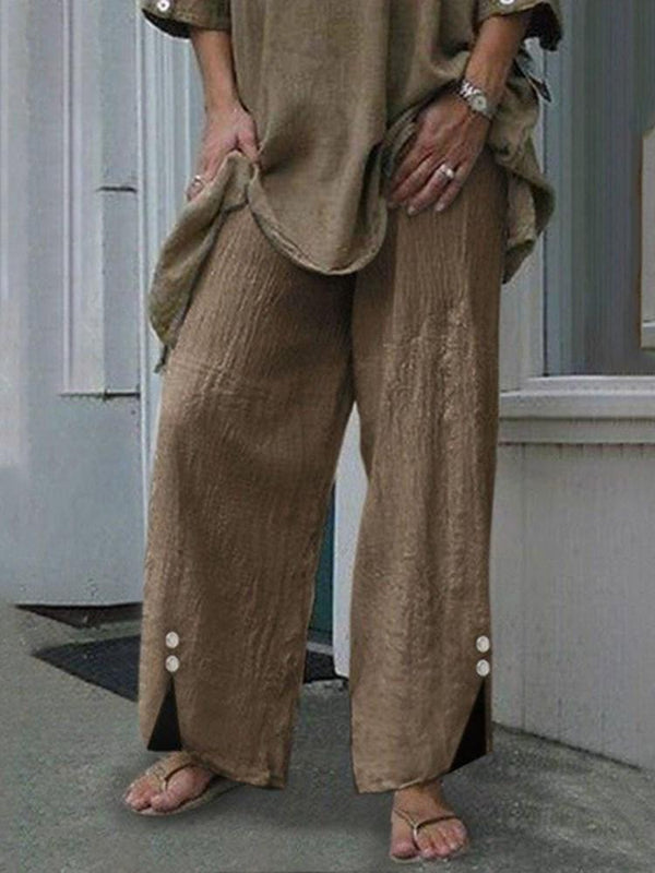 Loose Button Plain Wide Legs Full Length Casual Pants