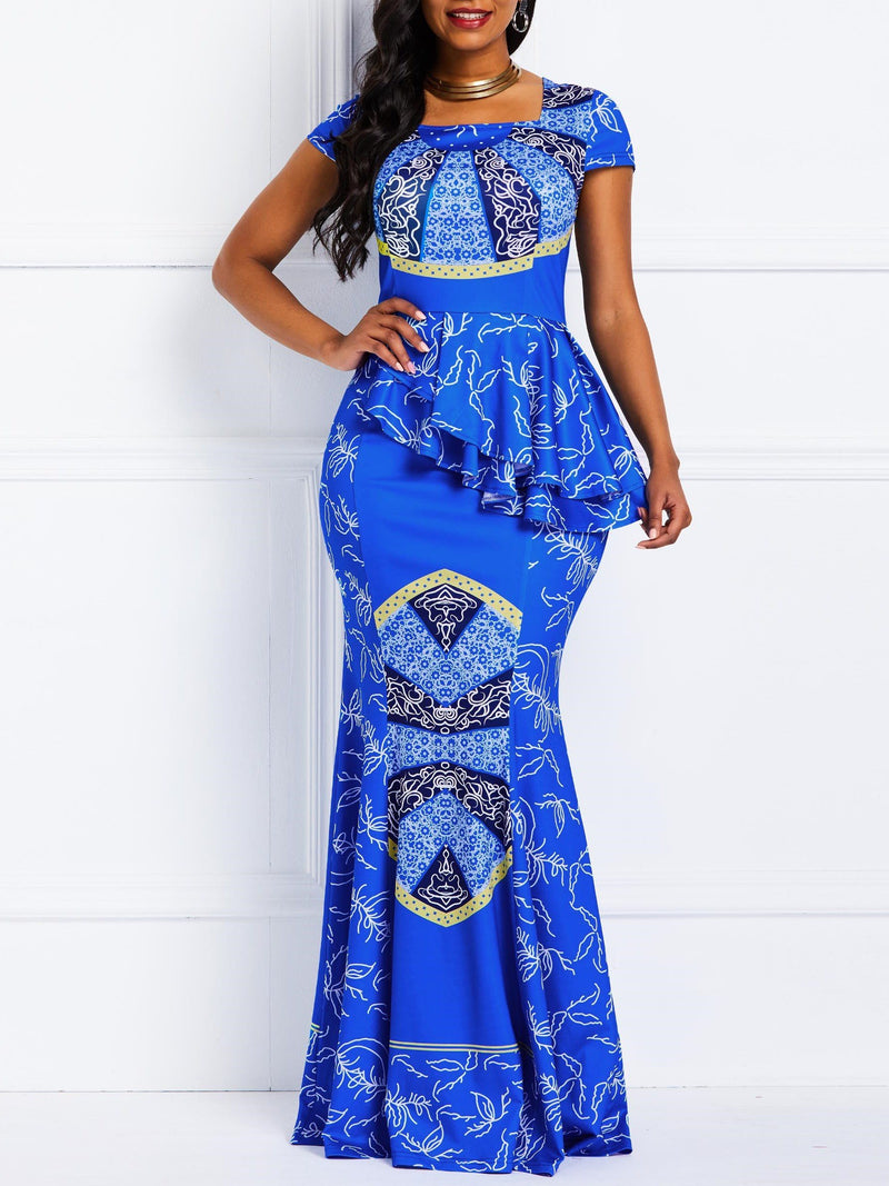 Print Floor-Length Square Neck Mermaid Dress