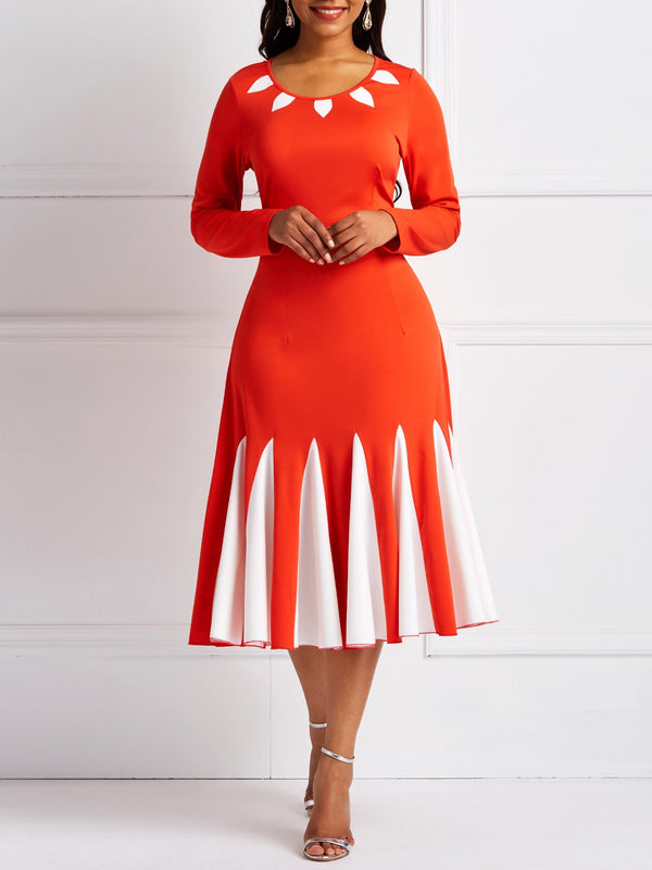 Patchwork Long Sleeve Mid-Calf Color Block Pullover Dress