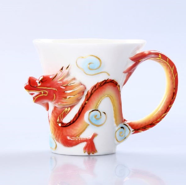 Set di tazze da caffè in ceramica smaltata Fancy Creative Dragon