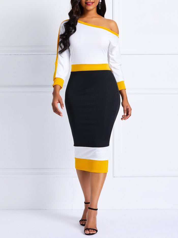 Off-The-Shoulder Color Block Business Casual Dress