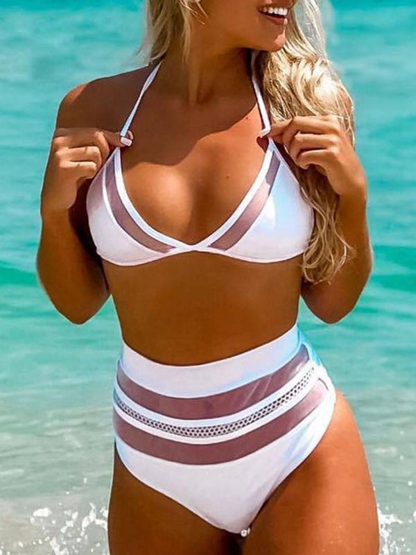 Sexy Plain Tankini Set Swimwear