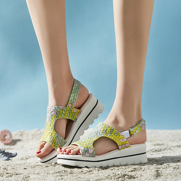 Buckle Slingback Strap Open Toe Wedge Heel Woven Casual Sandals