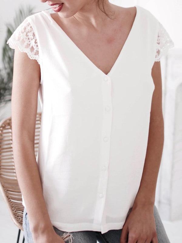Lace V-Neck Standard Short Sleeve Blouse