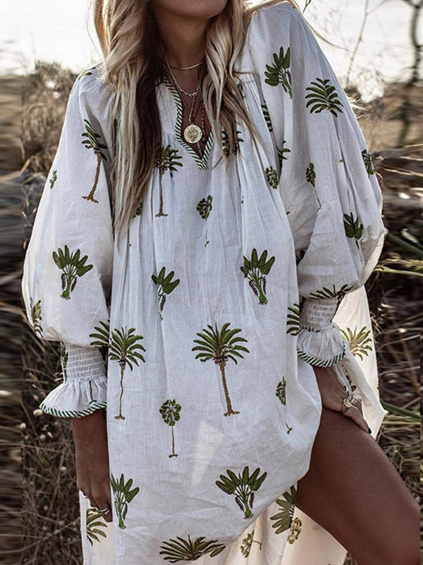 Knee-Length V-Neck Print Flare Sleeve Plant Dress