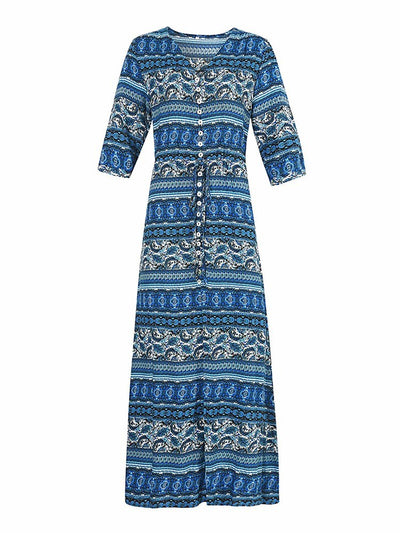 Print Ankle-Length Three-Quarter Sleeve Regular Single-Breasted Dresses