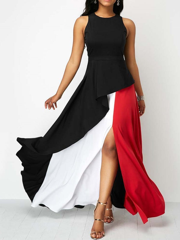 Round Neck Ankle-Length Sleeveless Summer A-Line Dress