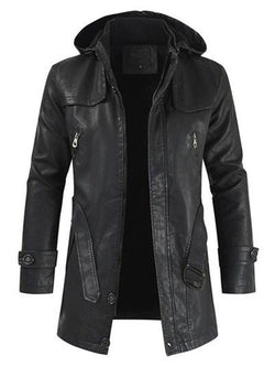 Mid-Length Hooded Plain Button Slim Leather Jacket