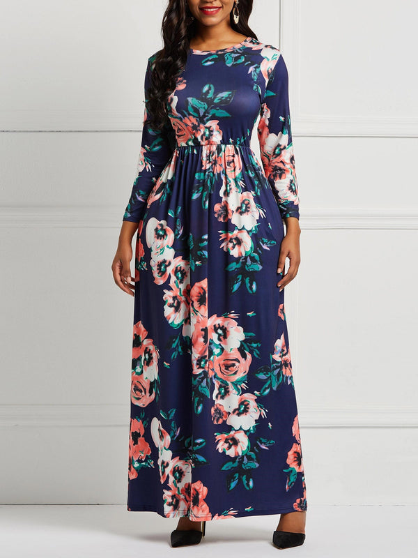 Round Neck Floor-Length Print Floral Expansion Dress