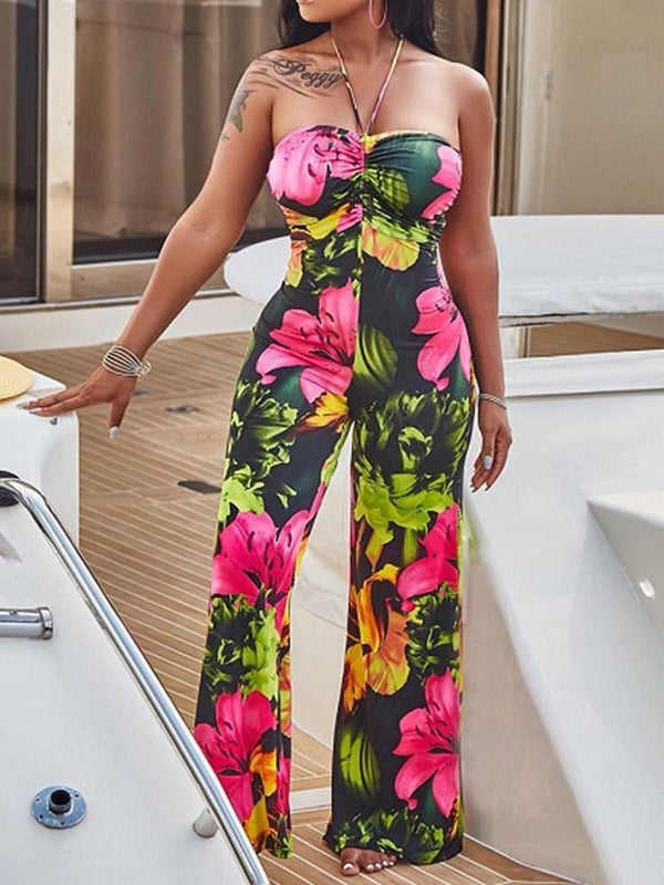 Print Fashion Full Length Wide Legs Loose Jumpsuit