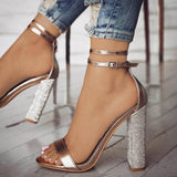Chunky Heel Open Toe Heel Covering Line-Style Buckle Banquet Low-Cut Upper Sandals