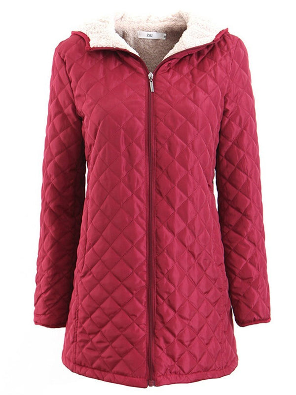 Thick Slim Zipper Mid-Length Cotton Padded Jacket