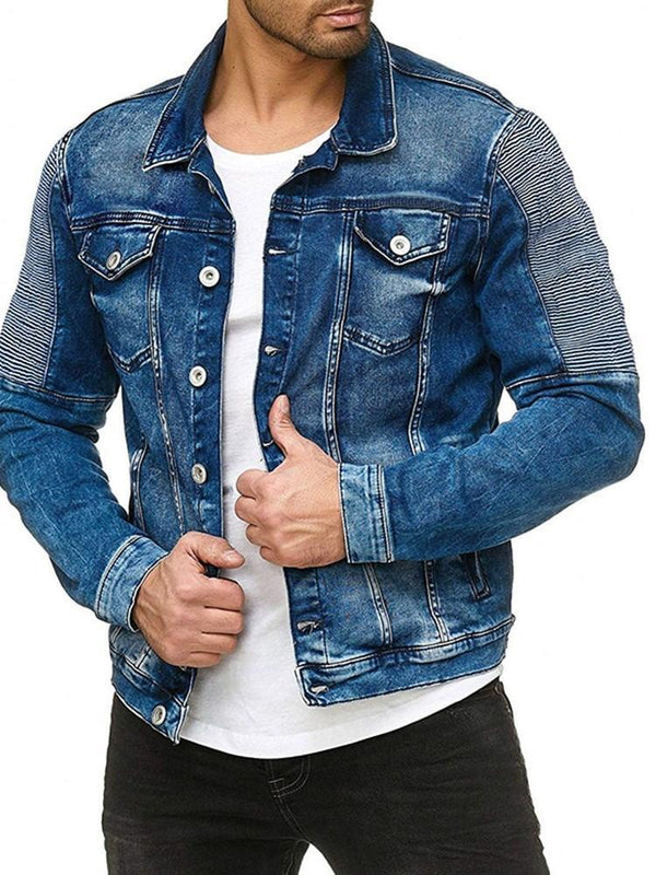 Pocket Lapel Color Block Casual Single-Breasted Jacket