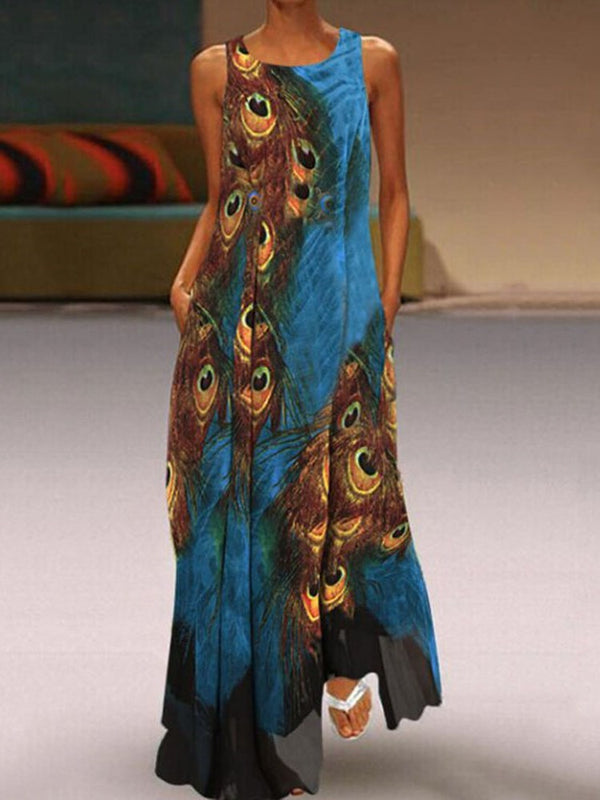 Sleeveless Print Floor-Length A-Line Summer Dress