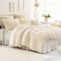 Solid Creamy White Super Soft 4-Piece Fluffy Bedding Sets/Duvet Cover