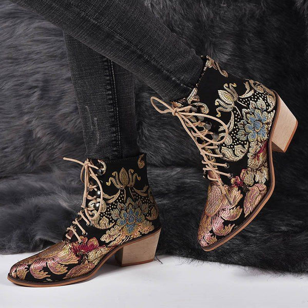 Pointed Toe Chunky Heel Lace-Up Front Color Block Embroidery Casual Boots