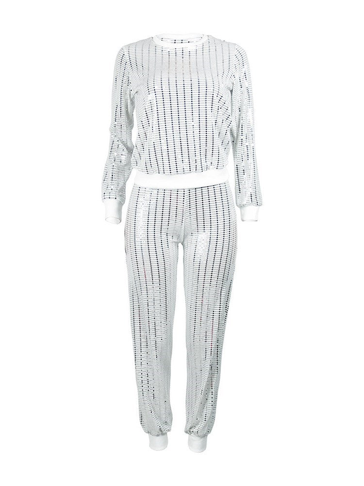 Casual Stripe Sequins Pullover Pencil Pants Conjuntos de dos piezas