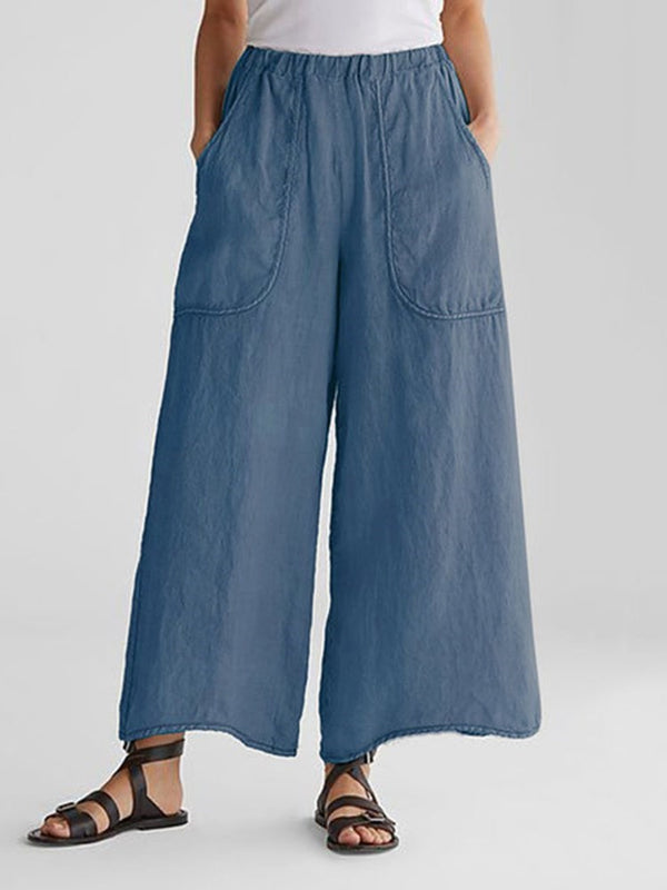 Loose Plain Ankle Length Wide Legs Casual Pants