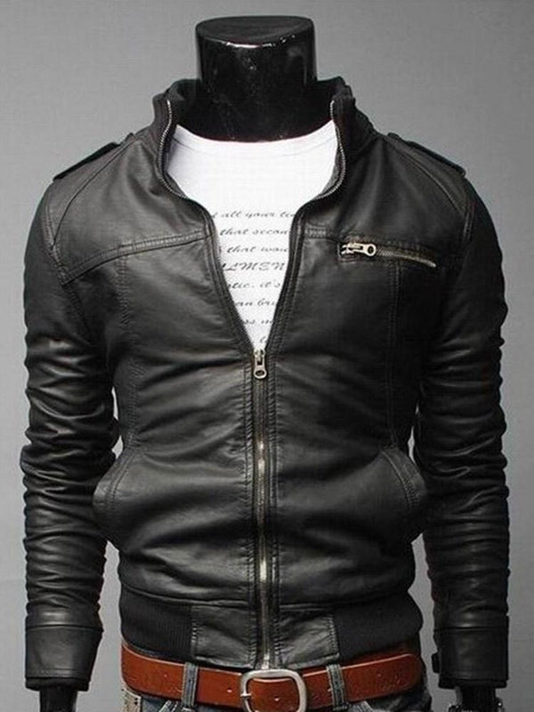 Plain Stand Collar Standard Casual Zipper Leather Jacket