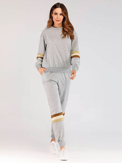 T-Shirt Patchwork England Pullover Harem Pants Two Piece Sets