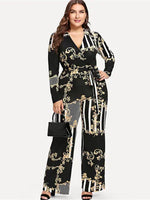 Full Length Print Casual High-Waist Slim Jumpsuits