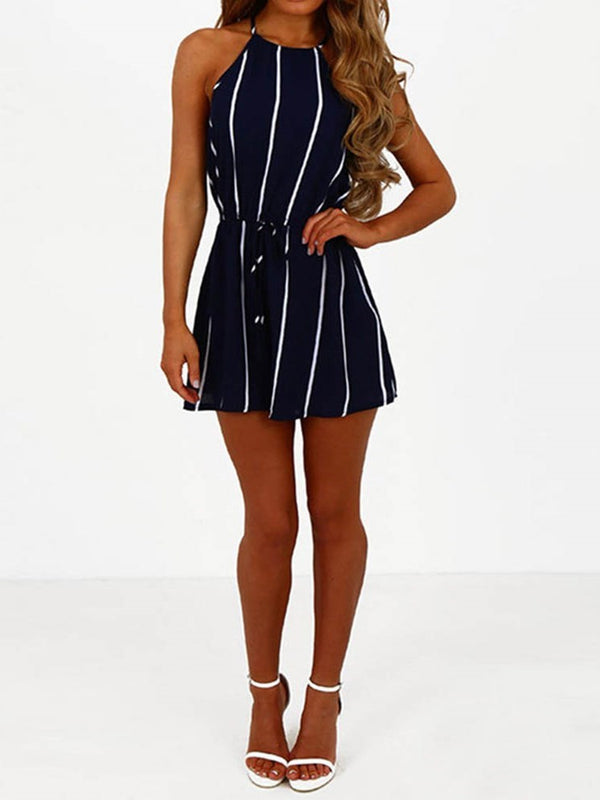Western Shorts Stripe Loose Jumpsuit