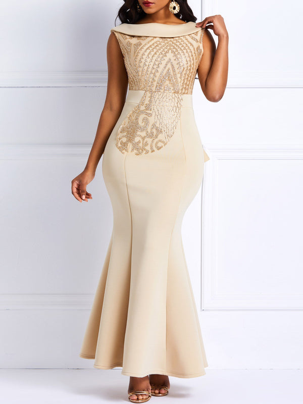 Graceful One-Shoulder-Pailletten dünnes Fischschwanz-Maxikleid