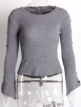 Flare Sleeve Thin Standard Slim Sweater