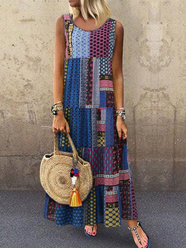 Print Sleeveless Ankle-Length Summer Ethnic Dress