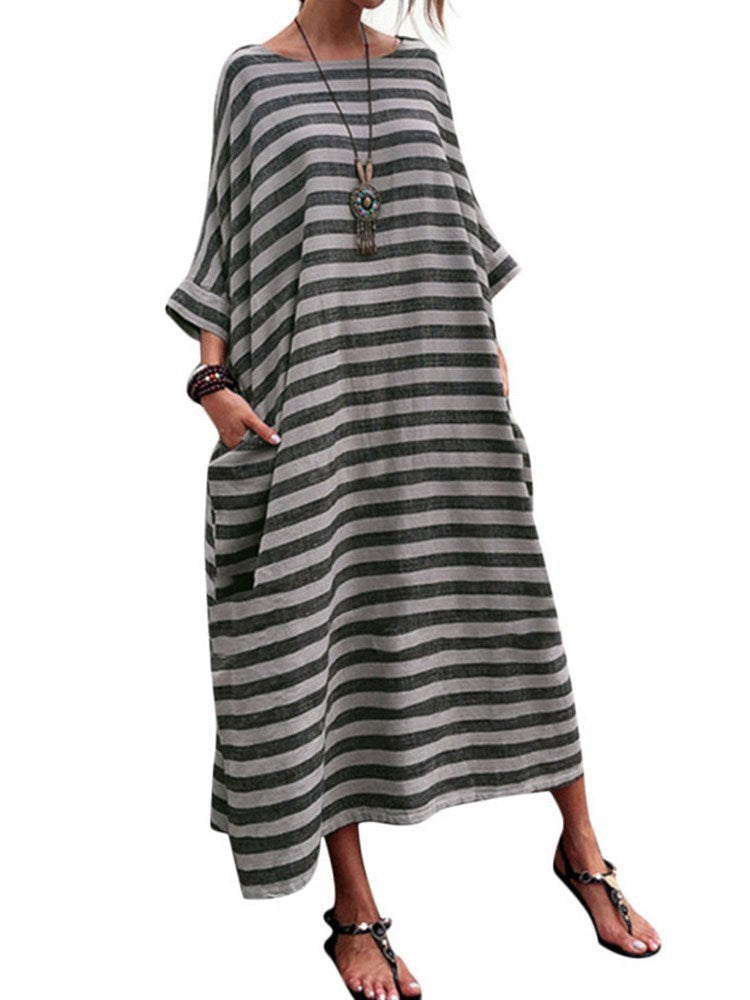 Ankle-Length Round Neck Nine Points Sleeve Pullover Batwing Sleeve Dress