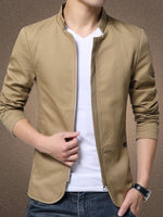 Plain Stand Collar Casual Zipper Jacket